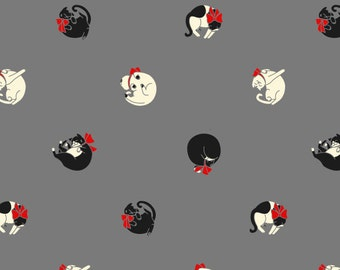 Original Fabric - Polka Cat - Quilting Cotton, Fat Cat, Black, Grey, Red, Kitten, kitty