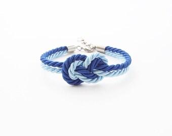 Bridesmaid bracelet - blue wedding - nautical wedding gift - maid of honor bracelet - tie the knot bracelet - beach wedding gift -ombre blue