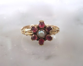Antique 15K Rose Gold Ring - Victorian or Georgian Gem & Seed Pearl Gold Flower Ring - Size 6 1/2 - easy to re-size