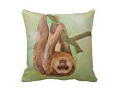 Sloth pillow, Adorable sloth decorative throw pillow, Sloth home decor in earth tones size 16x16 pillow, painted sloth art pillow