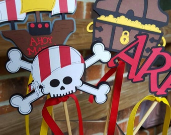 Pirate Centerpiece with Skull, Treasure Chest,  Argggghh and Ship