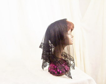 Chapel Head Covering Mantilla,  Sheer Nylon Lace Black Mourning Scarf, Funeral Gothic Wedding Accessory