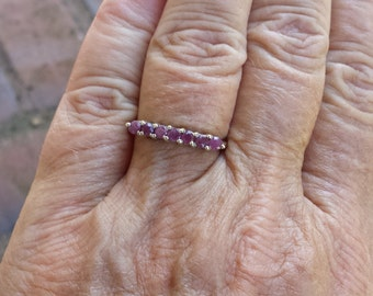 ruby ring size 8 1980's genuine natural UNHEATED UNTREATED ruby wedding band or right hand sterling ring