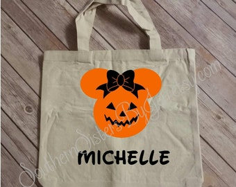 Trick or Treat Bag, Personalized Halloween Bag, Candy, Halloween, Trick or Treat, Disney, Mickey Mouse, Minnie Mouse, Pumpkin