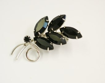 Vintage Prong Set Navette Black Rhinestone Spray Brooch Pin in Silver Tone Setting, Mothers Day Gift , For Her
