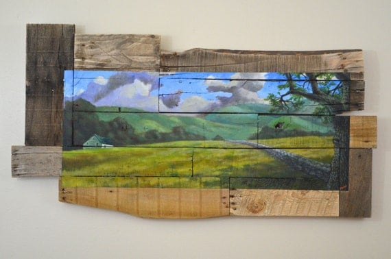 Landscape Painting 'Missing Stone' -painting - wood art - art, reclaimed  wood - Landscape Painting 'Missing Stone' Painting Wood