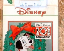 Vintage Disney Christmas Book and Tape Cassette, Disney 101 Dalamtians, Sing and Read Along, Never opened or Used, 1992, Gift for kids Kids