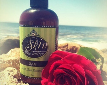 Vegan Body Lotion // ROSE scented lotion // Thick like body butter // Available in an 8 oz bottle or jar // non-greasy
