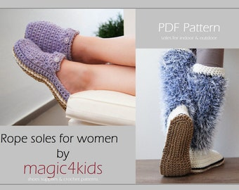 Crochet pattern- women rope soles, sizes: 36 to 41 EU/ 5,5 to 9 US, jute,twine,cord,rope,soles,women,girl,shoemaking,adult,knitted slippers