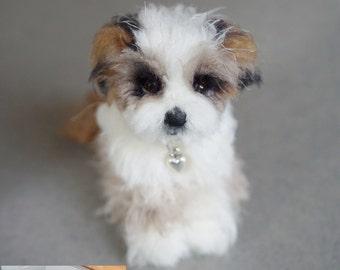 Custom Shihchon Pet Portrait Sculpture, Mini Pet Replica, Needle Felted Dog Shih Tzu, Havanese, Stocking Stuffer, Tonner Doll Teddy Bear Dog