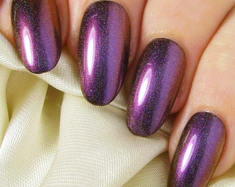 Oval Fake Nails - Press On Nails - Artificial Glue On False Nails - Purple, Red & Gold Holographic Multichrome - Colour Shifting Changing