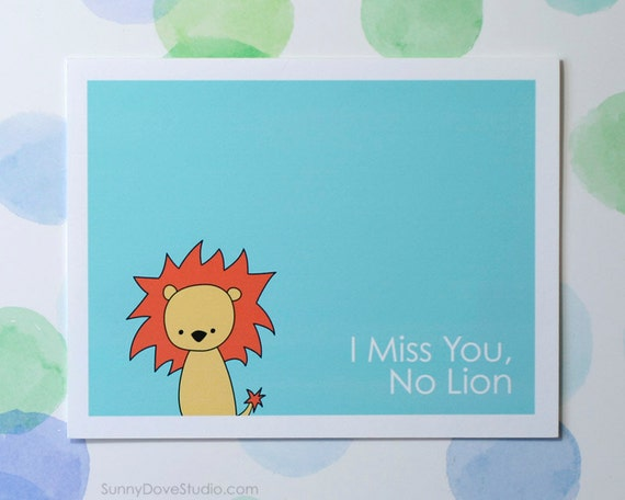 lion pun i miss you card cute fun missing thinking of