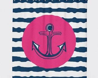 Anchor Shower Curtain, Nautical Shower Curtain, Red Anchor, Kids Shower Curtain, Shower Curtain Aqua, Navy Shower Curtain, Kids Bathroom Art