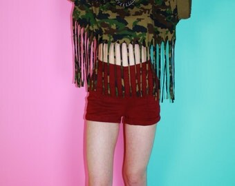 Upcycled Camouflage Tassle Crop top