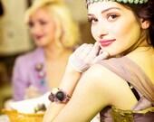 bohemian bracelet - flower bracelet - textile bracelet - magenta - mauve - lace bracelet - textile