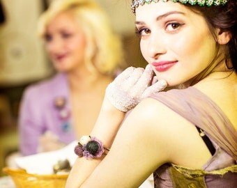 bohemian bracelet - flower bracelet - textile bracelet - magenta - mauve - lace bracelet - textile art - textile jewelry