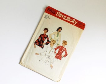 SIZE 10 6815 Simplicity Women's Top Shirt Tunic Sewing Pattern Vintage 1975 1970s Misses Stand Up Collar Middle Eastern Style Belt