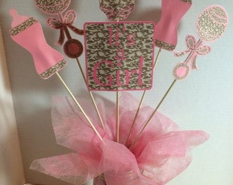 It's a girl Camo theme centerpiece picks six for 15.00- double sided