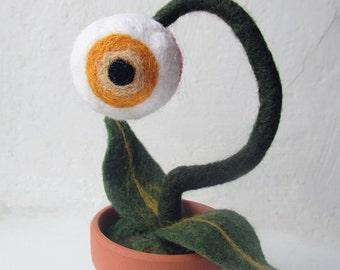 Eyeball Plant Yellow Needle Felted Plant Fantasy Flower