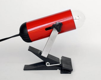 Vintage Clamp Lamp / Rotative Spotlight / Small Table Downlight / Red light / STILPLAST made in Italy - 70s
