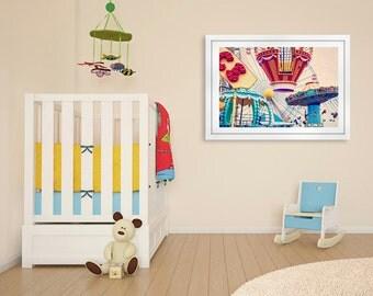 Nursery Wall Art, Nursery Print, Carnival Photography, Carousel Art, Gender-neutral Print, Teal, Red, Orange, Yellow, Beige