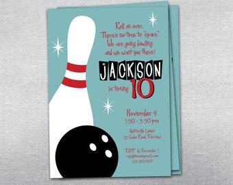 Bowling birthday invitation. Bowling party invitation.