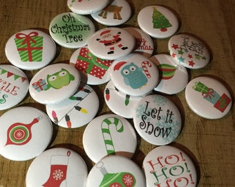 Christmas pinback buttons - 1 inch - random set of 10