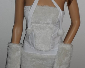 New ladies one size full white polar Bear faux fur animal ostume costumes 7 pieces