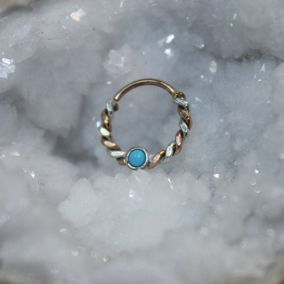 Septum Ring - Silver and Gold Nose Ring Turquoise - Helix Ring - Tragus Piercing - Septum Hoop - Nipple Jewelry - Cartilage Ring 14 gauge