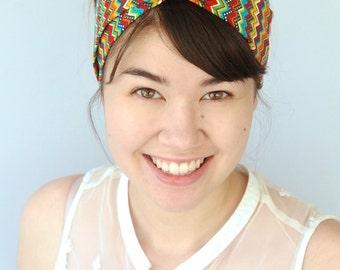 Boho Turban Headband, Colorful Geometric Tribal Headwrap