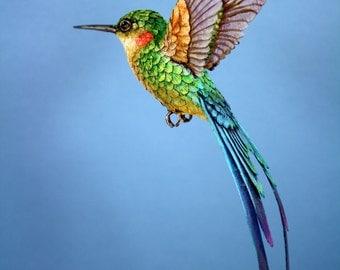 Paper and wood hummingbird digital art print