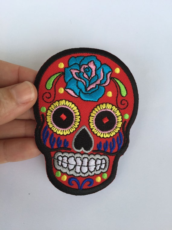 Items similar to Iron-On Sugar Skull Patch / Skull Patch ...