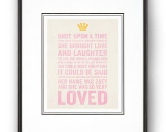 "Personalized Nursery Decor""A Beautiful Happy Girl"" Fairy Tale Art Print"