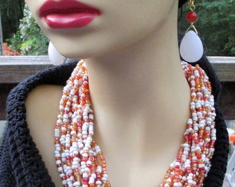 Genuine White Jade and  Carnelian  Necklace and Earrings Set     ****OOAK****