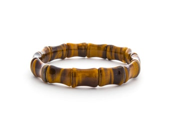 Tiger Eye Cuff Bracelet/ Tiger Eye Beaded Bracelet/ Natural Tiger Eye Bracelet/ Genuine Tiger Eye Jewelry