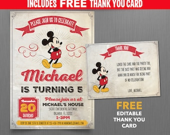 Disney Vintage Style Mickey Mouse 5x7 or 4x6 in. Birthday Party Invitation - with FREE editable Thank you Card - Edit with Adobe Reader