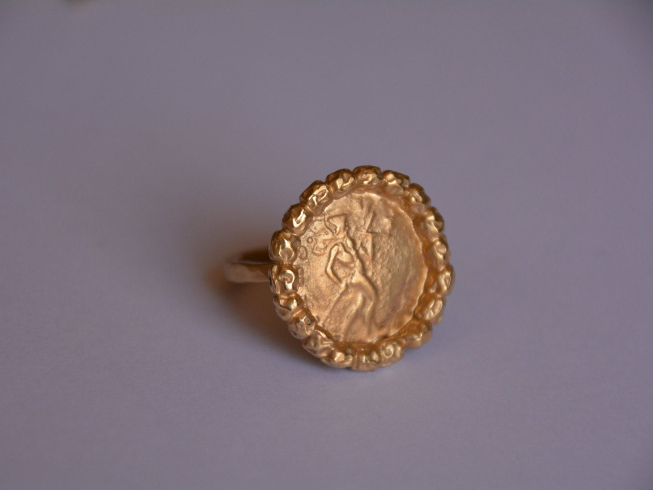 gold ring antique coin ring handmade antique by