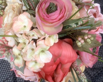 Cream, muted peach, garden rose bridal bouquet, repurposed silks