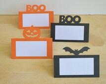 Halloween Place Cards - Set of 12 - Halloween Food Tents - Halloween Food Labels - Bats - Jack-o-Lantern - Boo - Halloween Party Decoration