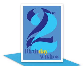 22nd Birthday Wishes card for boy man male, 22 Happy birthday card typography blue aqua for son nephew grandson, inside message options
