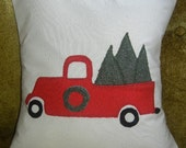 Christmas Red Wool Fabric Truck appliqued on Off White Muslin Fabric with Appliqued Green Berber Fleece Trees