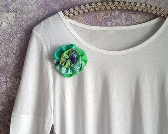 Mint and blue silk flower pin, green brooch, handmade flower broach, textile scrunch floral lapel pin, unique original design gift for her