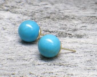 14K Yellow Gold Turquoise Ball Stud Earrings