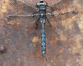 """6"""" Emperor Dragonfly Scrap Metal Sculpture, Welded Unique Artwork, Reclaimed Materials, Recycled, Insect Art"""