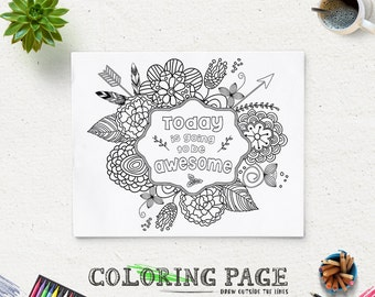 coloring page printable verse today is going to be awesome instant download printable coloring pages antistress - Therapy Coloring Pages Printable