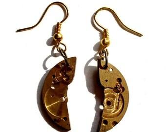 MECHANICAL HALF MOON Steampunk Jewelry Earrings Clockwork Gears Eye