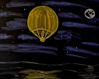 Sky lantern done in colored chalk