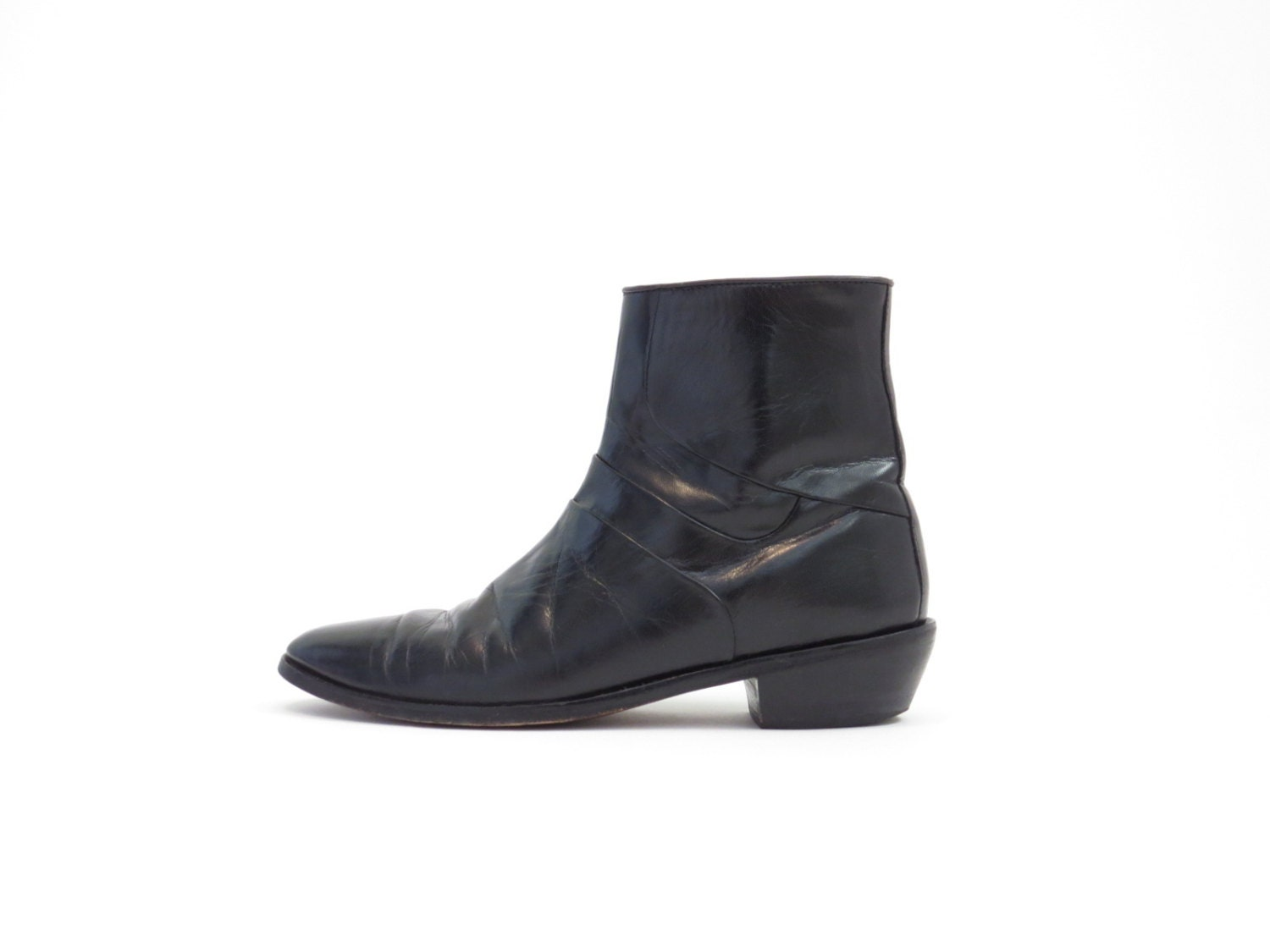 black beatle boots chelsea boots ankle boot real by shoegazes