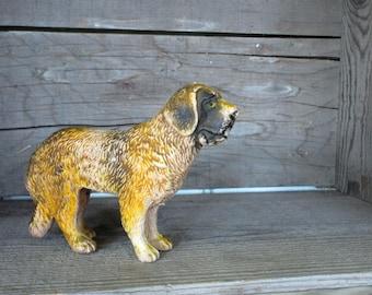 Vintage Dog Figurine Rubber St. Bernard Rustic Look