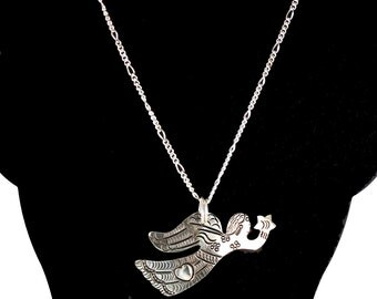 Vintage Milagro Angel w/Heart Sterling Silver Pendant - Milagro Angel Necklace - Angel with Heart - Special Remembrance Gift - Silver Angel